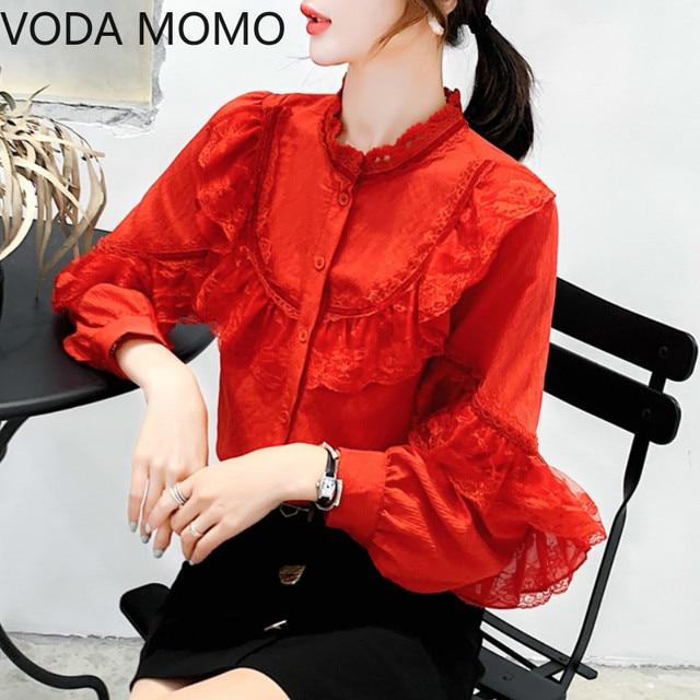 Ruffles red Lace Stitching Shirt Autumn New Fashion Lace Blouse Women Puff Sleeve Sweet Sexy Womens Tops Blusas De Mujer 1