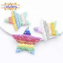6Pcs 50mm Glitter Sequins Star Patches for Clothing Supplies Baby Girls Barrette Headwear Bobby Pin Hairgrip Accessories