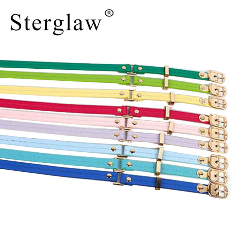 93*1.3cm Fashion female Candy colors Leather Belts For Women Dress thin Student teen Waist belt lady blue cinto feminino KC01