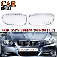 MagicKit Chrome Silver Front Kidney Bumper Sport Grille Grilles For BMW E90 E91 Saloon 325i 328i 335i 2008 2012 4D LCI|Racing Grills|   -