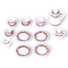 Горячий-15 шт кукольный дом Миниатюрный фарфоровый чайный сервиз блюдо+ чашка+ тарелка-Красочный цветочный принт