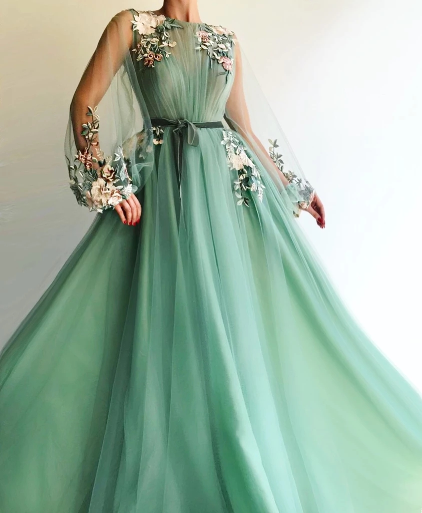 Mint Green Muslim Evening Dresses 2019 A-line Long Sleeves Tulle Embroidery Dubai Saudi Arabic Long Formal Evening Gown