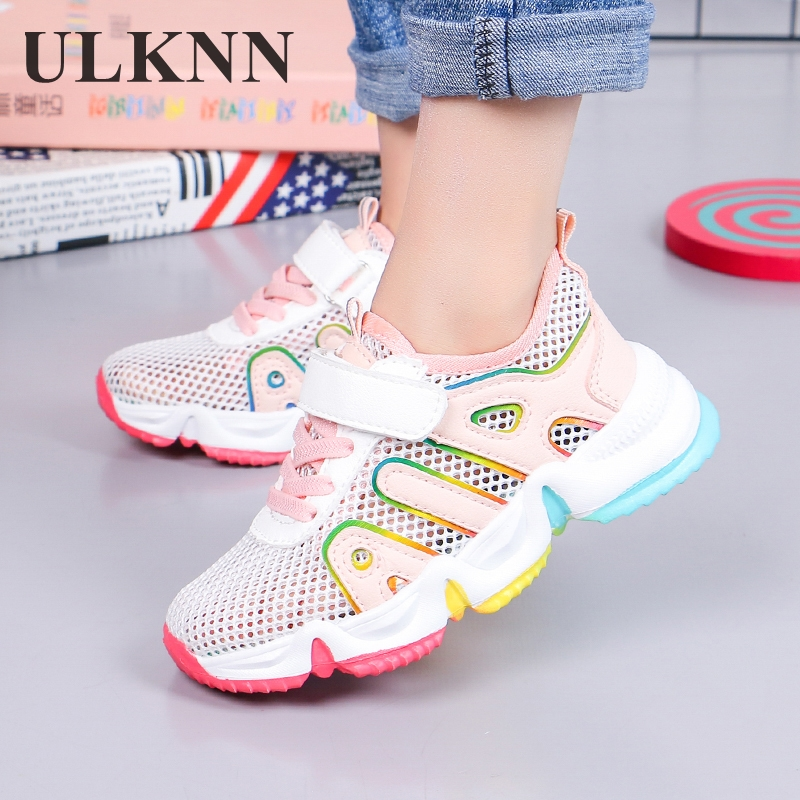ULKNN Girls Sneakers 2020 Summer New Kid's Breathable Mesh Children's Shoes Students Tennis Boy's Casual Pink Size 27-38