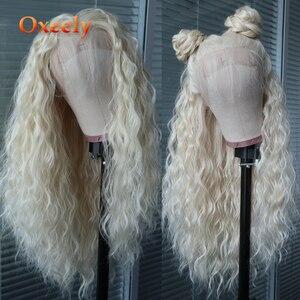 Pelucas delanteras de encaje sintético de oxeally pelo Natural rizado suelto con pelo de bebé resistente al calor sin pegamento para mujeres