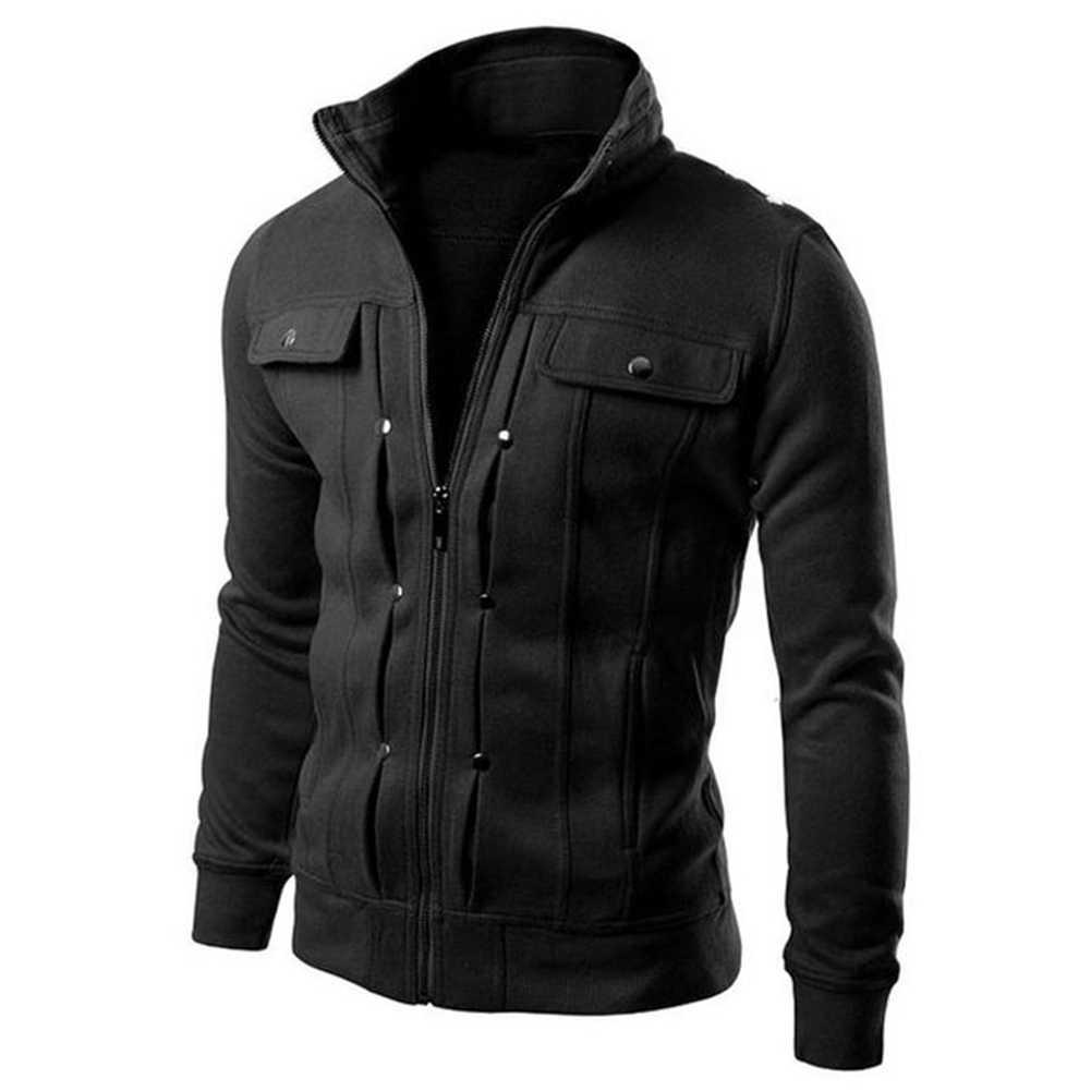 패션 남성 자켓 코트 플러스 사이즈 남성 자켓 단색 스탠드 칼라 긴 소매 Streetwear 겨울 재킷 따뜻한 남성 куртка