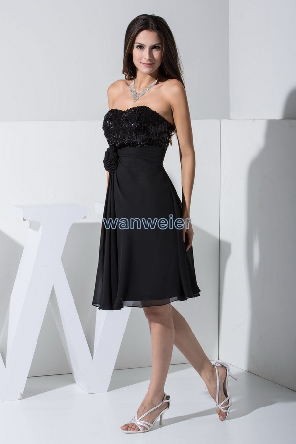 free shipping knee-length prom dresses 2020 hot sale custom new fashion sexy black a-line sweetheart flower sequined short party