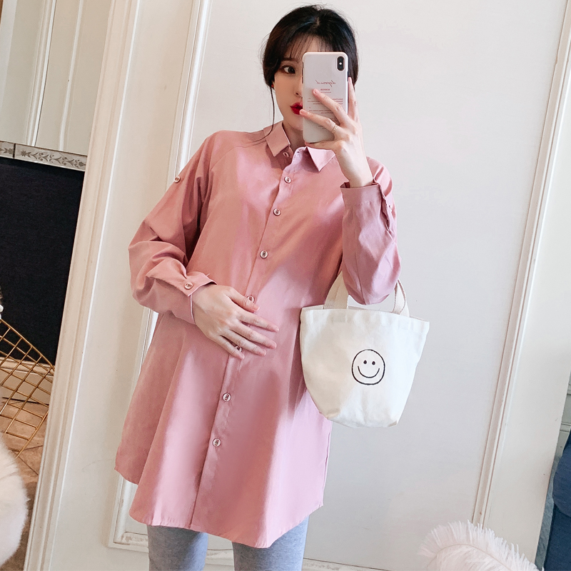 6080# Front Back Both Can Wear Pink Maternity Blouse Loose Rolled Up Long Sleeve Shirts For Pregnant Women Autumn Pregnancy Tops