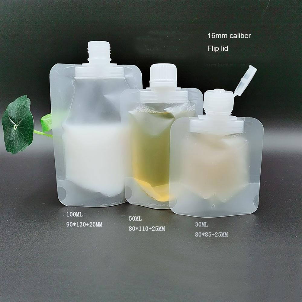 30/50/100ml Clamshell Packaging Bag Stand Up Spout Pouch Plastic Hand Sanitizer Lotion Shampoo Makeup Fluid Bottles Travel Bag