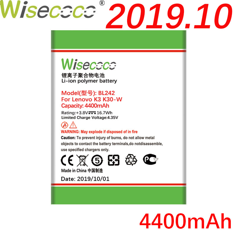 WISECOCO 4300mAh BL242 <font><b>Battery</b></font> For <font><b>Lenovo</b></font> K3 K30-W K30-T A6000 A3860 A3580 A3900 <font><b>A6010</b></font> <font><b>A6010</b></font> Plus Phone <font><b>battery</b></font>+Tracking Number image