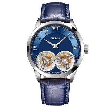 AESOP Double Tourbillon Movement Men's Mechanical Watches Male Skeleton Watch for Men Man Luxury Clocks Luxury  1