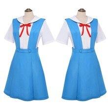 Novo anime evangelion halloween cosplay asuka langley soryu tóquio ayanami rei traje uniforme escolar