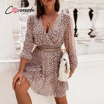 Conmoto High waist polka dot women dress Elegant V-neck Long Puff sleeve spring mini dress Casual holiday style A-line dress new 1