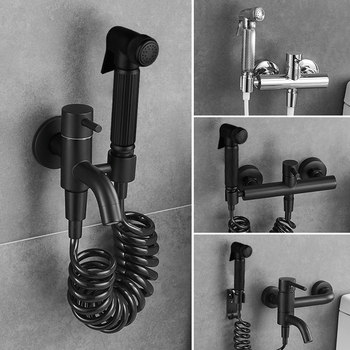 All copper black toilet cleaning spray gun booster flushing faucet bathroom mop pool hot and cold companion anal douche