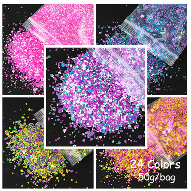 50g/Bag Milky Rainbow Sequin 26 Colors For Manicure Tools 1-3mm Mix Size Holo 3D Acrylic Nail Sequin Glitter For Nail Art Decor