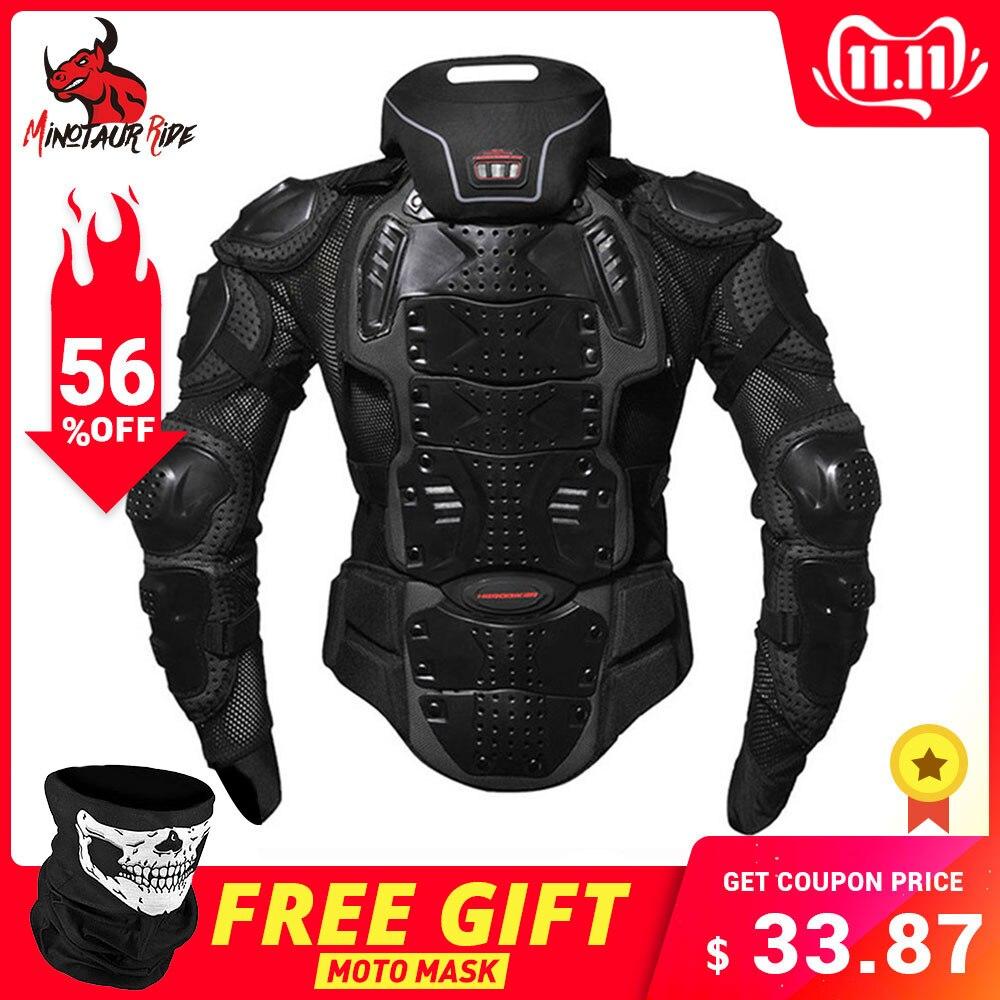 Herobiker motocicleta jaquetas armadura da motocicleta de corrida corpo protetor jaqueta motocross moto engrenagem protetora + protetor pescoço