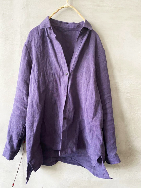 Women linen Spring Autumn Solid COlor Simple Blouse shirt Tops Ladies Vintage Irregular Length Flax Shirt Tops 2020 5