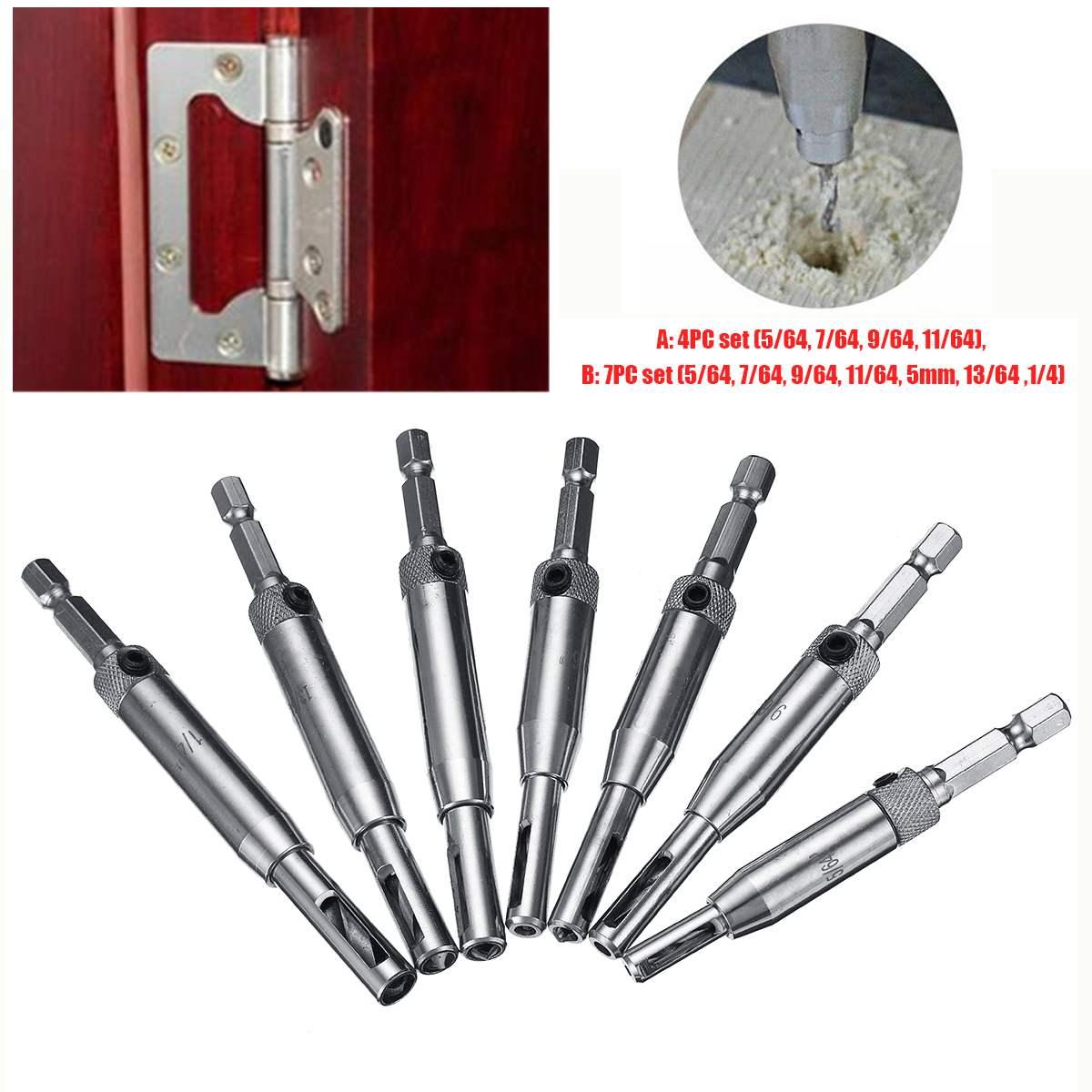 7pc//set HSS Center Drill Bits Door Self-centering Hinge Hole Opening Drill Bit