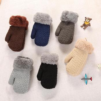 New Arrival zima Boys Baby dziewczyny rękawiczki z dzianiny ciepłe liny pełne mitenki rękawiczki dla dzieci maluch dzieci zimowe rękawiczki tanie i dobre opinie CN (pochodzenie) COTTON CASHMERE Patchwork Unisex Baby Gloves 14*7 cm Support
