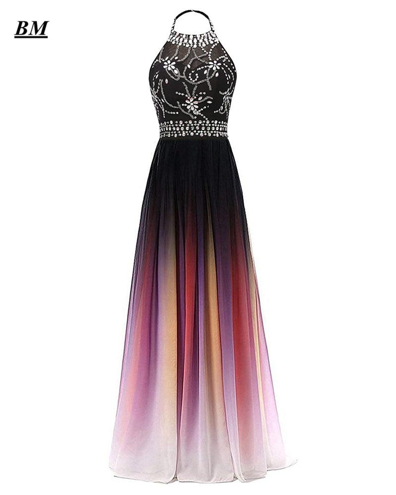 A-line HalterOmbre Prom Dresses 2019 Chiffon Sequins Beading Long Gradient Formal Evening Dress Party Gown Vestidos De Gala BM11