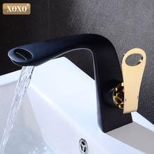 XOXO смеситель для раковины, кран для горячей и холодной ванной, черный смеситель, современный, с одной ручкой, однорычажный смеситель для раковины, кран на бортике, кран для раковины 21095A-HG