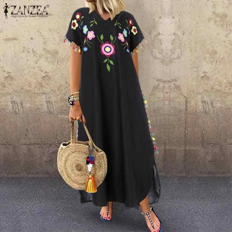 2020 yaz çiçek baskılı bölünmüş Sundress ZANZEA moda püskül parti elbise kadın kısa kollu uzun Vestidos kadın elbise tunik