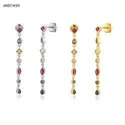 ANDYWEN 925 Sterling Silver Gold Rainbow 38cm Long Chain Drop Earring Women Fashion Fine Jewelry For Wedding Luxury Jewels