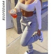 Boofeenaa velo quente grosso empilhado sweatpants atacado streetwear mulher cordão alargamento calças 2020 tendência y2k corredores C85-CG41