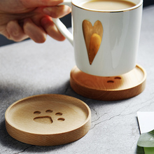 2Pcs Wooden Coasters Cup Mat Cute Round Mug Coaster Wood Decorative Placemat Table Mats Drink Coaster Kitchen Table Accessories