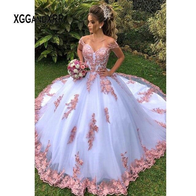 Robes de Quinceanera blanc avec dentelle rose Applique 2020 robe de bal robe de bal doux 15 16 fête danniversaire GaLa grande taille formelle