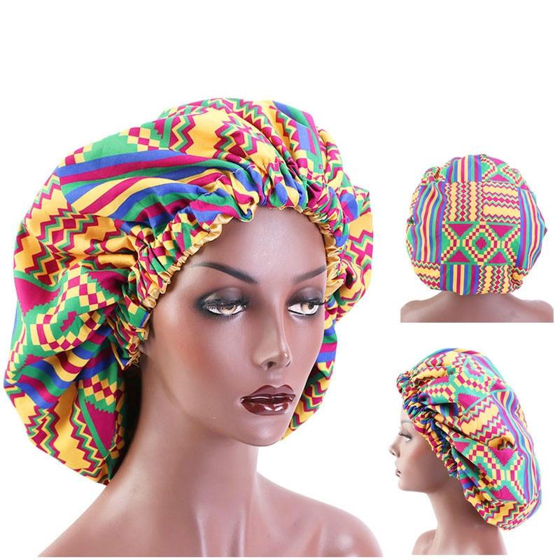 African Pattern Print Bonnet Hijabs Hat Women Night Sleep Cap Double Layer Satin Turban Extra Large Head Wear Lady Head Wrap Hat