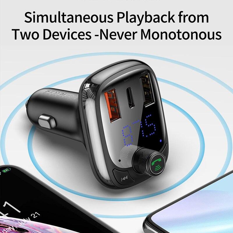 Image 5 - Baseus FM トランスミッタ変調器の Bluetooth 5.0 ハンズフリーカーキットオーディオ MP3 プレーヤー  PPS QC3.0 QC4.0 5A 高速車の自動車充電器    グループ上の 自動車