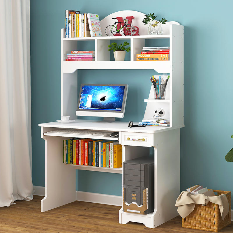 Computer Desk-style Home European-style White Simple Student Bedroom Office Multi-functional Writing Desk Bookshelf Combination