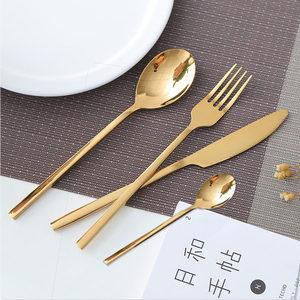 Image 3 - 24 adet yeni altın en kaliteli paslanmaz çelik biftek bıçağı çatal parti çatal bıçak kaşık seti altın çatal bıçak çatal seti