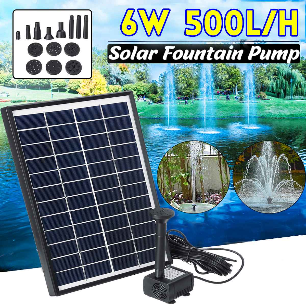 6W 500L/H Solar Power Panel Water Pump Garden Landscape Floating Fountain Artificial Outdoor Fountain Home Decoration Pump Set