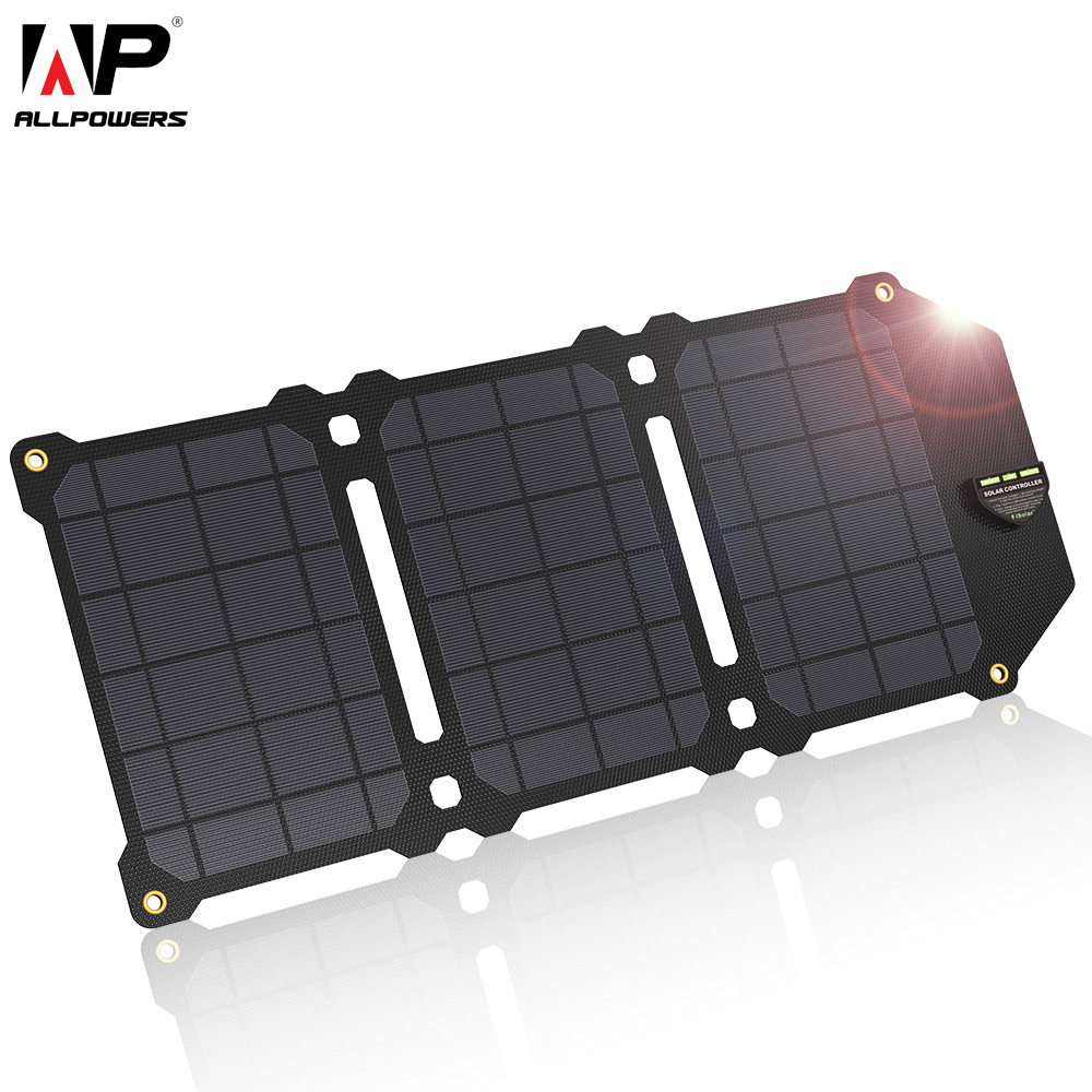 ALLPOWERS 21W Mobile Phone Charger Dual USB 5V 4A Solar Panel ETFE Solar Charger for Smartphones|Mobile Phone Chargers| |  - title=