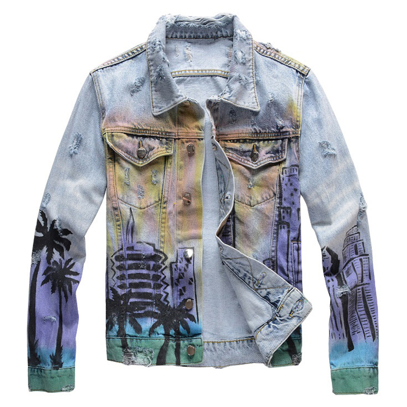 Sokotoo Men's Colored Painted Coconut Printed Jean Jacket Trendy Streetwear Holes Ripped Denim Coat High Quality