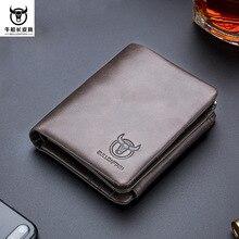 BULL CAPTAIN 브랜드 정품 가죽 RFID 다용도 포켓 지갑 남성용 카드 소지자 카드 케이스 동전 주머니 남성용 지퍼 달러 지갑