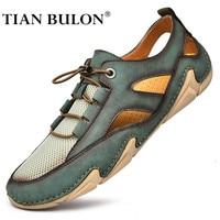 Malla de verano sandalias de los hombres de lujo transpirable zapatos casuales de cuero zapatos de los hombres sandalias de playa de moda al aire libre Zapatillas para hombre de talla grande 38-47 38-47 38-47