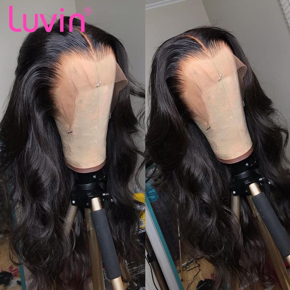 Luvin 250 densidade 10- 26 Polegada frente do laço perucas de cabelo humano para preto onda do corpo feminino remy peruca frontal do laço brasileiro curto bob peruca