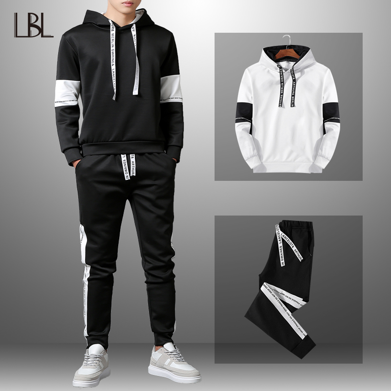 LBL Patchwork Men's Tracksuit Sportswear Autumn Mens Hoodie Set Spring Fashion Letter Printed Sweatsuit Male Trainingspak Mannen