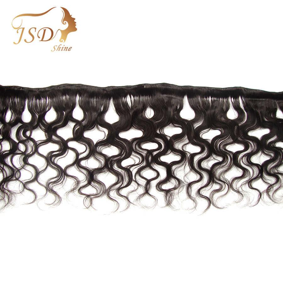 Jsdshine onda do corpo pacotes de cabelo humano com fecho cabelo brasileiro tecer pacotes com 5x5 fechamento do laço cor natural remy cabelo