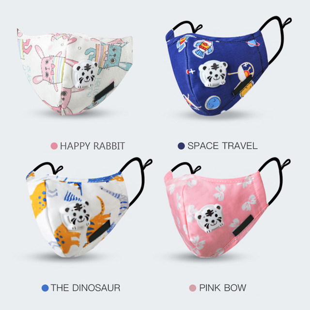 Kids Children Cotton Anti-Dust Face Mouth Mask Cartoon PM2.5 Protective Respirator Reusable Anti Flu Masks With 1pcs Filter 4
