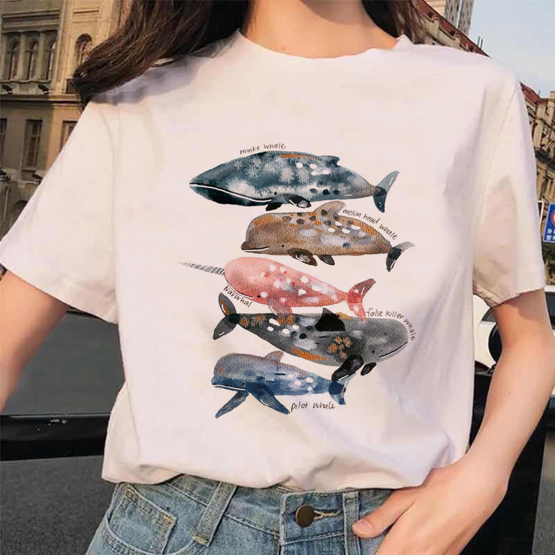 T-shirts Top for Women Whale Watercolor Animal Printing 90s Casual Print Lady Womens Graphic T Shirt Ladies Female Tee T-Shirt