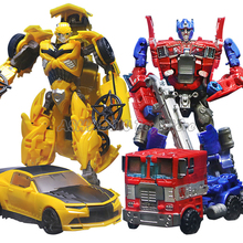 Top Sale! 19cm Big Size Transformer Robot Car Model Plastic Action Figure Bumblebee Optimus Transformation Toys for Children