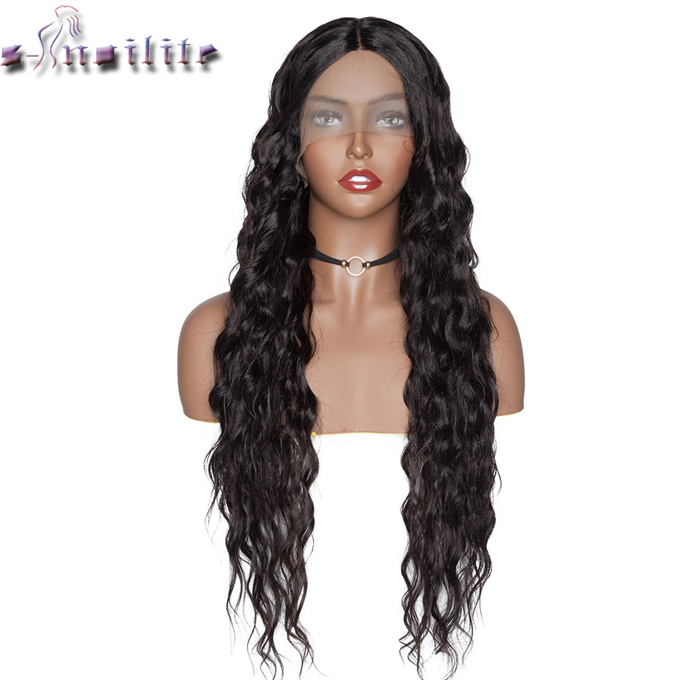 S-noilite Synthetic Lace Front Wig Black Water Wavy 4