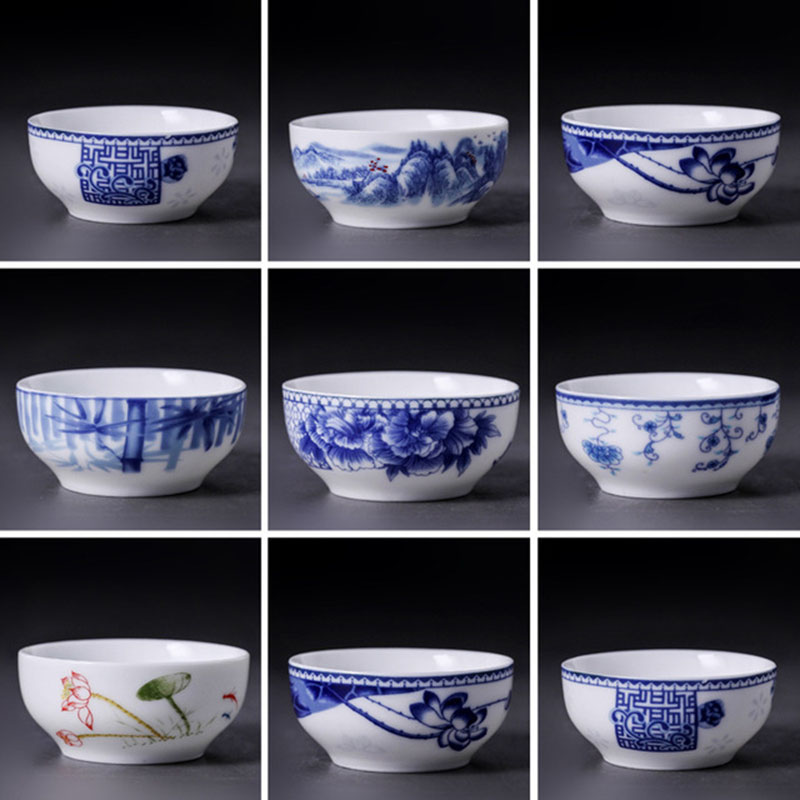 20pcs/set Blue and White Ceramic Glaze Teacup Tea Bowl Kung Fu Chinese Tea Set 45ml Hand-painted Kitchen Drinkware