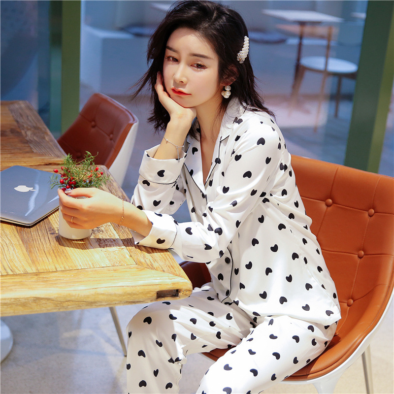 2019 Autumn Silk Women Pjamas Sexy Satin Pyjama Set Korean 2 Pcs Sets Sweet Pijamas Women Casual Sleepwear Home Clothes