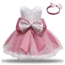 Dziewczynki pierwsza sukienka na przyjęcie bożonarodzeniowe 1 rok sukienka urodzinowa noworodek suknia do chrztu niemowlę chrzest koronkowy kostium Bowknot