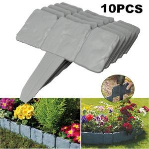 Garden Fence Lawn Edging Plant Border Yard Plastic Home Decorative Flower Grey 10pcs