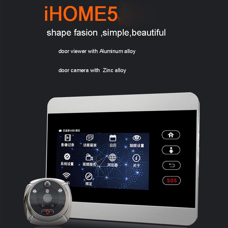ROLLUP WIFI Door Viewer Doorbel WIFI IR PIR Night Vision Door HD Camera Remotely Surveillance 5inch Door Display With Door Bell